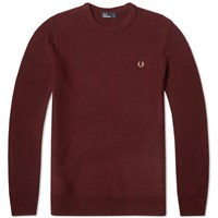 Fred Perry Textured Crew Neck Sweater Burgundy