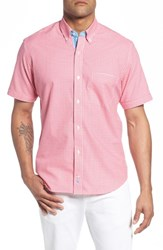 Tailorbyrd Big And Tall Apollo Regular Fit Gingham Sport Shirt Coral