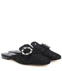 Dolce And Gabbana Jackie Embellished Lace Slippers Black