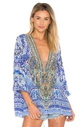 Camilla Lace Up Blouse Blue