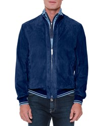 Stefano Ricci Perferated Suede Jacket Blue