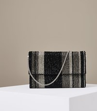 Reiss Minty Stripe Embellished Envolope Bag In Black Silver Black Silver
