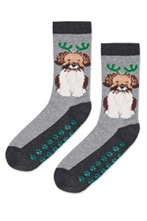 Topshop Dog With Antlers Socks By Hot Sox Grey Marl