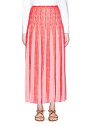 Valentino Pleated Georgette Godet Floral Lace Midi Skirt Red