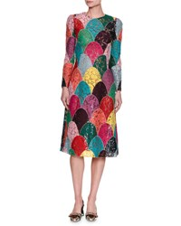 Dolce And Gabbana Long Sleeve Patchwork Corded Lace Dress Multicolor