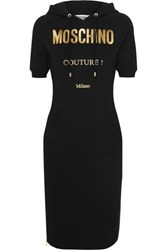 Moschino Hooded Metallic Printed Cotton Blend Jersey Dress Black