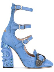 Gucci Snake Heel Strappy Shoe Boots Women Calf Leather Leather 37 Blue