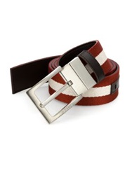 Bally Striped Reversible Belt Chocolate