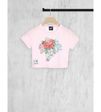 Illustrated People Cropped Cotton Jersey T Shirt Pink