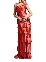 Kay Unger One Shoulder Tiered Gown Watermelon