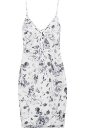 Zimmermann Gathered Floral Print Silk Crepe De Chine Dress White