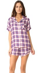 Plush Ultra Soft Short Sleeve Plaid Pj Set Red Blue Plaid