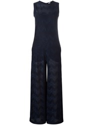 M Missoni Zig Zag Sleeveless Jumpsuit Blue