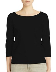 Eileen Fisher Plus Three Quarter Sleeve Tee Black