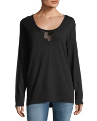 Lafayette 148 New York Luxurious Lace Inset Sweater Black