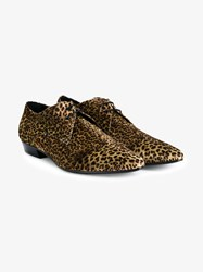 Saint Laurent Leopard Print Velvet Derby Shoes Black Brown Leopard