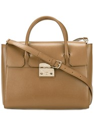 Furla Fold Over Tote Brown