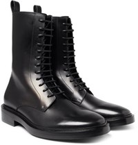 Balenciaga Leather Combat Boots Black