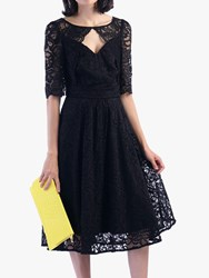 Jolie Moi Fit And Flare Lace Midi Dress Black