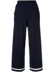 Loveless Wide Leg Cropped Trousers Blue