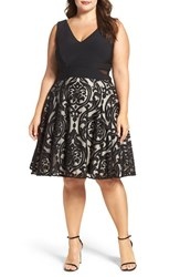 Xscape Evenings Plus Size Women's Flocked Skirt Party Dress Black Stone