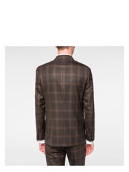 Paul Smith Men's Brown Windowpane Check Double Breasted Wool Blazer