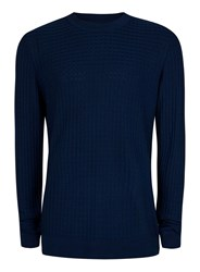 Topman Navy Square Textured Viscose Sweater