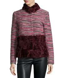 Belle Fare Boxy Tweed And Shearling Coat Fur Red