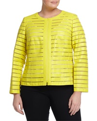 Lafayette 148 New York Plus Catrice Striped Leather Jacket Maize