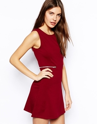 Ax Paris Shift Dress With Zip Detail Red
