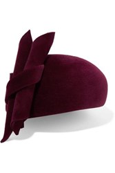 Philip Treacy Knotted Velour Beret Burgundy