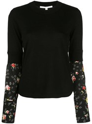 Veronica Beard Knitted Jumper With Silk Sleeves Black