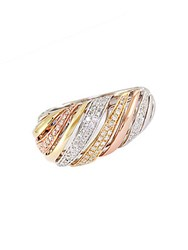 Effy Trio 14 Kt White Yellow And Rose Gold Striped Diamond Ring Tri Tone Gold