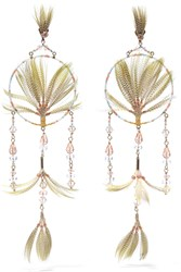 Valentino Gold Tone Crystal Bead And Feather Earrings