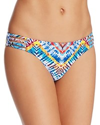 Red Carter Printed Strappy Side Bikini Bottom White Multi