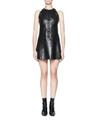 Olivier Theyskens Nator Sleeveless Leather Shift Dress Black
