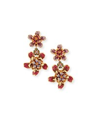Jose And Maria Barrera Pave Crystal Flower Double Drop Clip On Earrings Multi