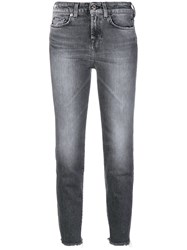 7 For All Mankind Cropped Skinny Jeans Grey