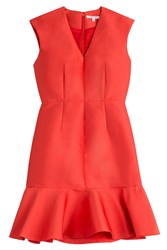 Carven Dress With Ruffled Hem Red