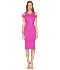 Zac Posen Bondage Jersey Cold Shoulder Short Sleeve Dress Magenta