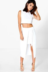 Boohoo Tie Waist Skirt And Crop Co Ord Set Ivory