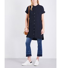 James Perse Rolled Sleeve Cotton Blend Shirt Dress French Navy