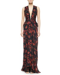 Thakoon Plunging Floral Print Cascading Ruffle Gown