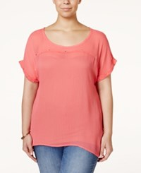 Eyeshadow Plus Size Studded Sheer Illusion Top Coral