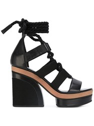 Pierre Hardy Lace Up Sandals Women Cotton Leather 36 Black