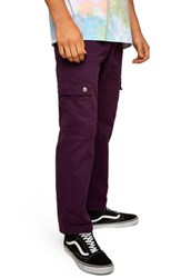 Topman Straight Fit Cargo Trousers Burgundy