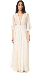 Free People Eclair Embroidered Maxi Dress Oatmeal
