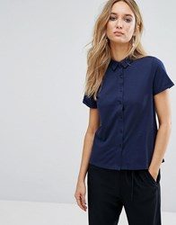 Mango Jersey Polo Shirt Navy