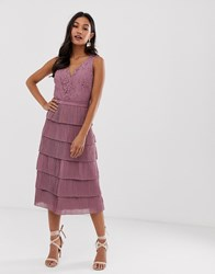 Little Mistress V Neck All Over Lace Midi Dress Pink