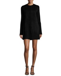 Theory Komiza Tilde Studded Sleeve Suede Shift Dress Black